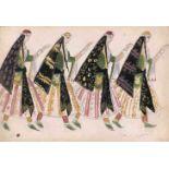 Mstislav Dobuzhinski (1875-1957) Entwurf für vier Frauenkostüme - Oper Chowanschtschina,