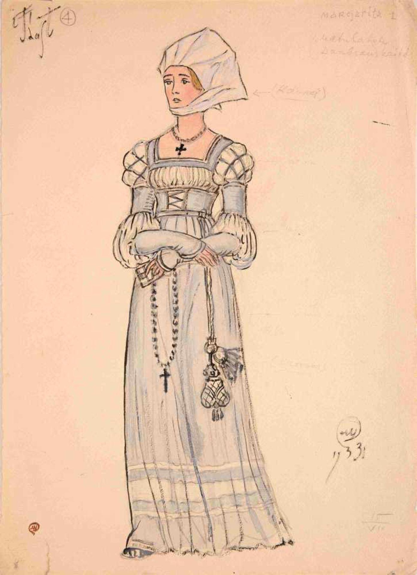 Mstislav Dobuzhinski (1875-1957) Gretchen - Kostümentwurf für die Oper Faust, Inszenierung des