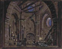 Bühnenbildentwurf für die Szene Labor des Doktors - Oper Faust, Inszenierung des Litauischen