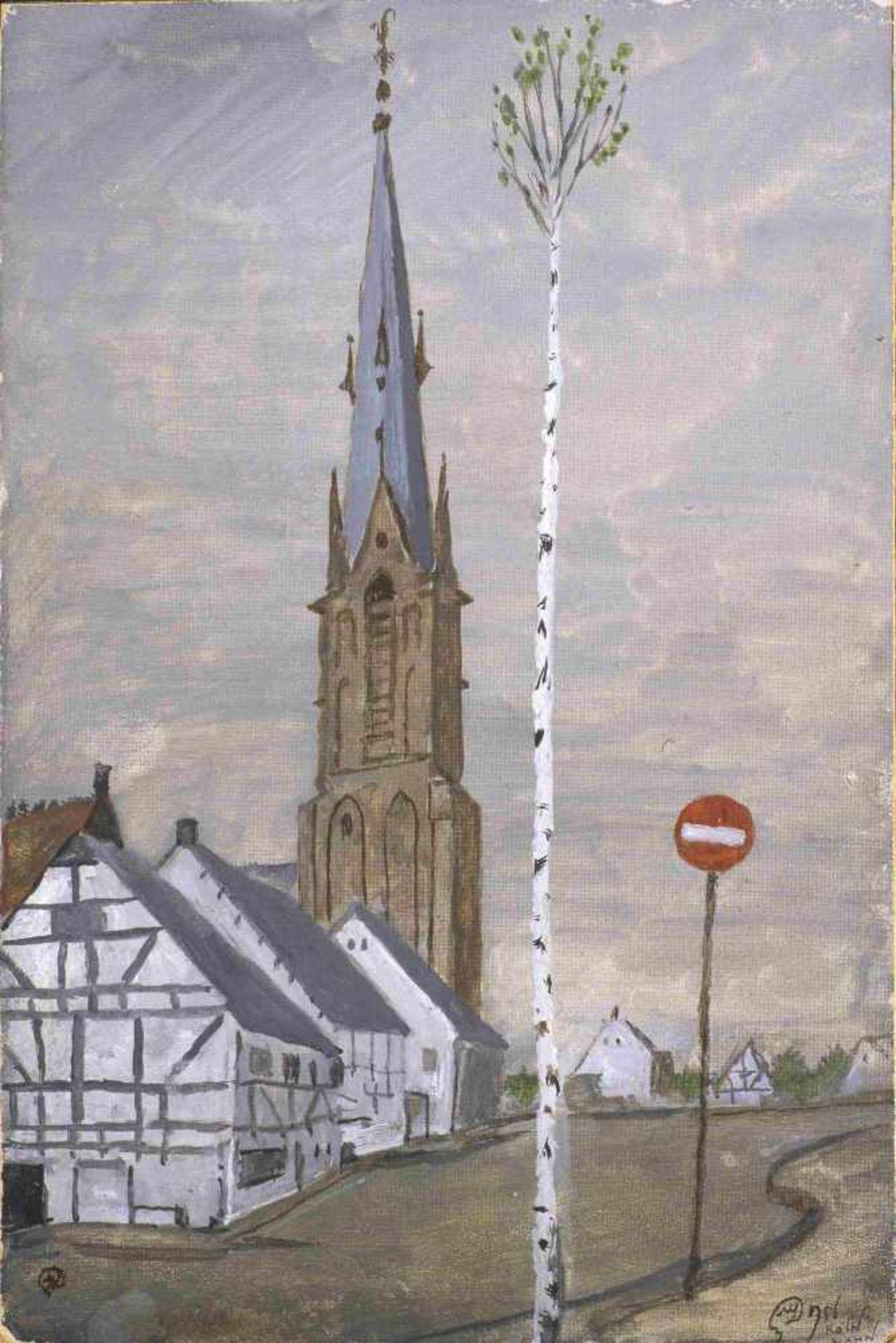 Mstislav Dobuzhinski (1875-1957) Köln. Stadtteil Wahn 1956 Karton, Gouache 30,3 х 20,1 cm R. u.