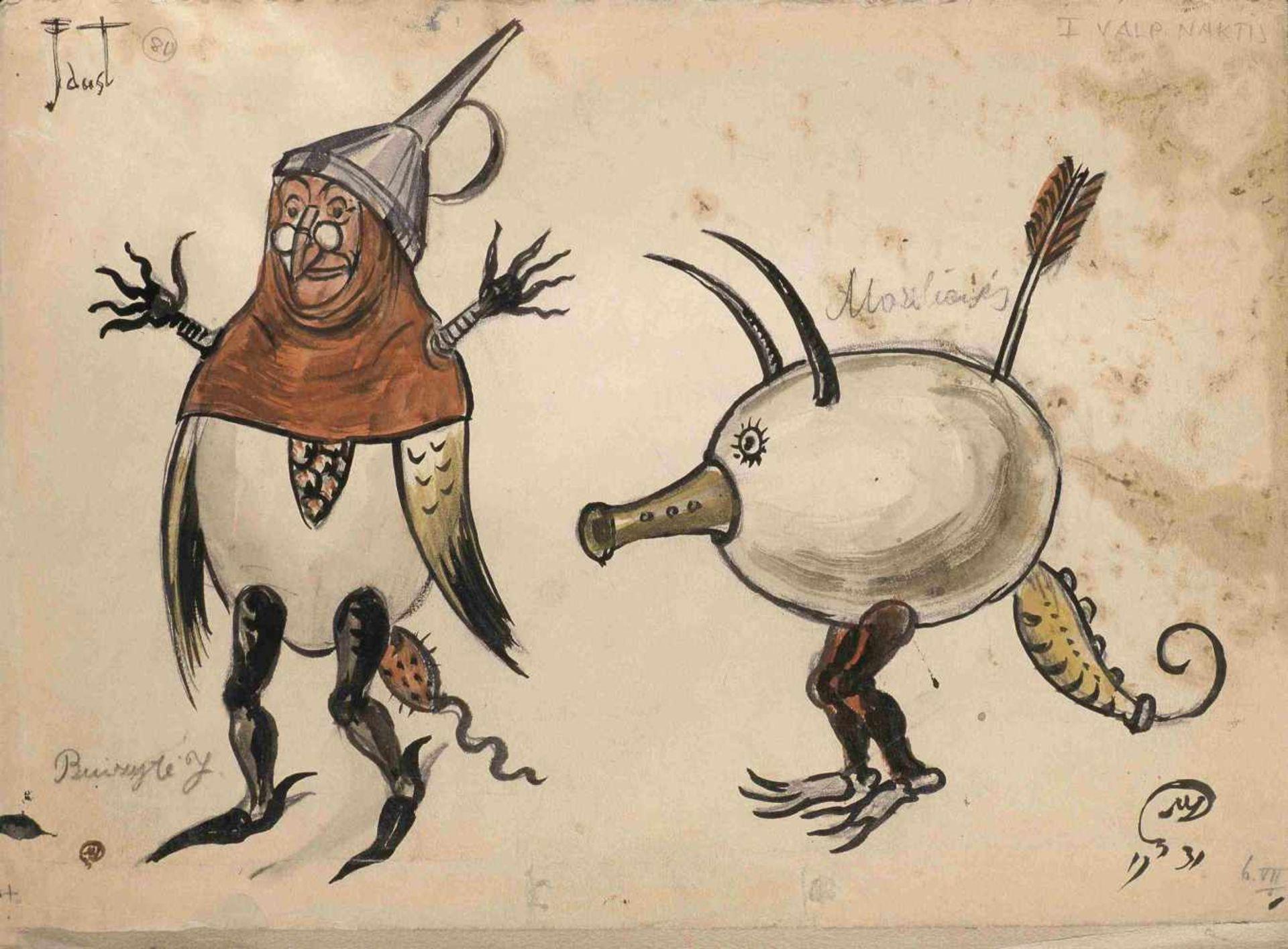 Mstislav Dobuzhinski (1875-1957) Lot aus drei Kostümentwürfe für die Szene Walpurgisnacht zur Oper - Bild 2 aus 3