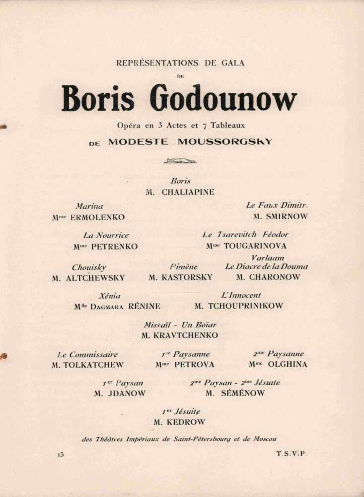 "[OPERA RUSSE, BAKST, BENOIS, BILIBIN, JUON, GOLOWIN, SEROW, SOMOW] Oper ""Boris Godunow"" im Théâtre - Bild 2 aus 2"