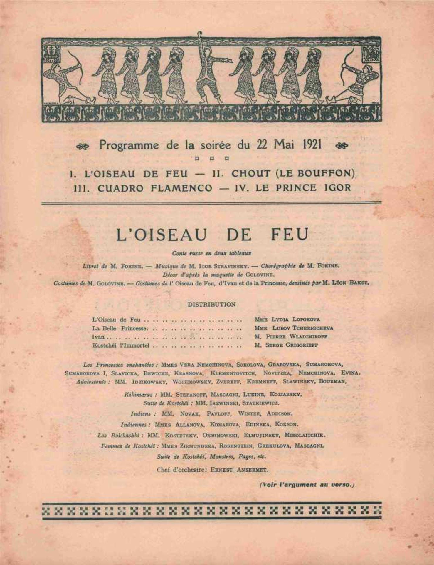[BALLETS RUSSES, GRIS, LARIONOW, PICASSO] Ballets Russes im Théâtre de la Gaîté-Lyrique, 14. Saison, - Bild 2 aus 2