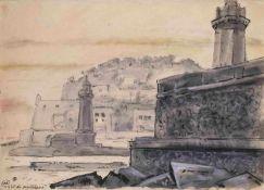 Mstislav Dobuzhinski (1875-1957) Hafeneinfahrt Monte Carlo 1935 Papier, Aquarell, weise Farbe,