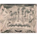 Mstislav Dobuzhinski (1875-1957) Phantastische Landschaft Zeichnung auf Postkarte 1956 Matt