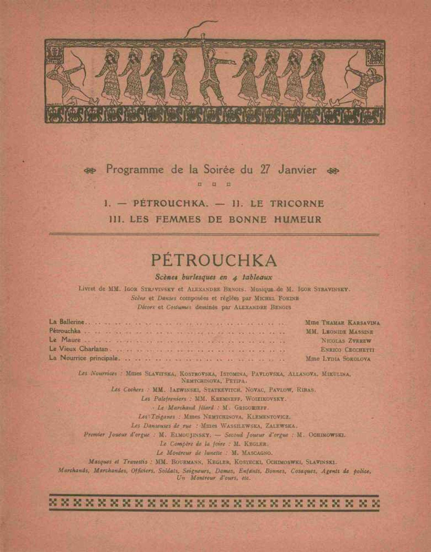 [BALLETS RUSSES, BAKST, DERAIN, MARTY, PICASSO] Ballets Russes von Sergei Djagilew 11. Saison in der - Bild 2 aus 2