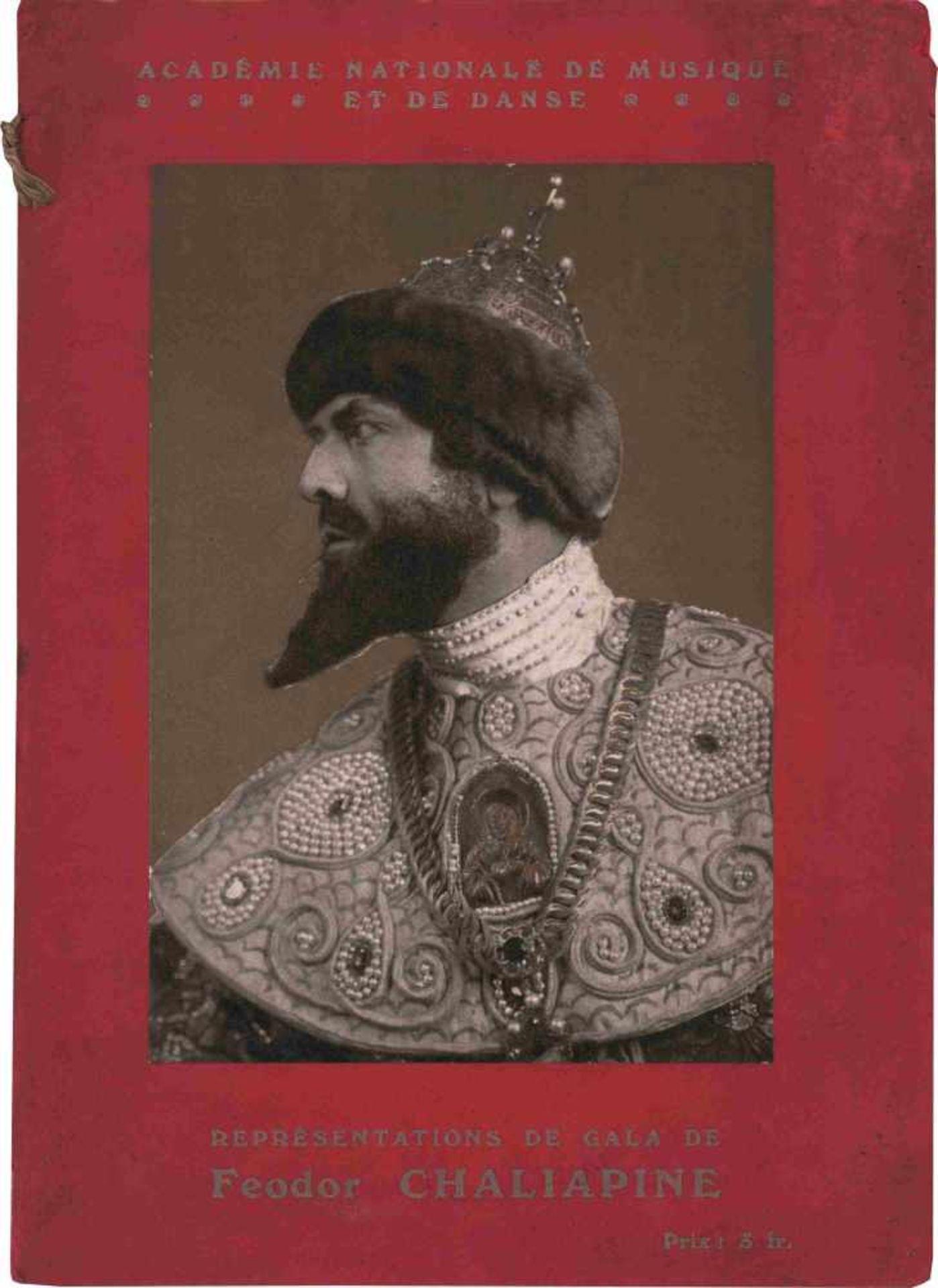 [OPERA RUSSES, CHALIAPINE] Gazette de l'Opera. [o.O.] [o.D.] 22,5 x 6,5 cm. Auf dem Umschlag