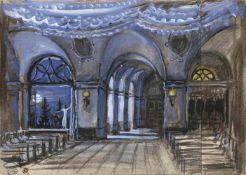Mstislav Dobuzhinski (1875-1957) Bühnenbildentwurf für die Inszenierung Girls Dormitory - Russisches