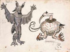Mstislav Dobuzhinski (1875-1957) Lot aus drei Kostümentwürfe für die Szene Walpurgisnacht zur Oper