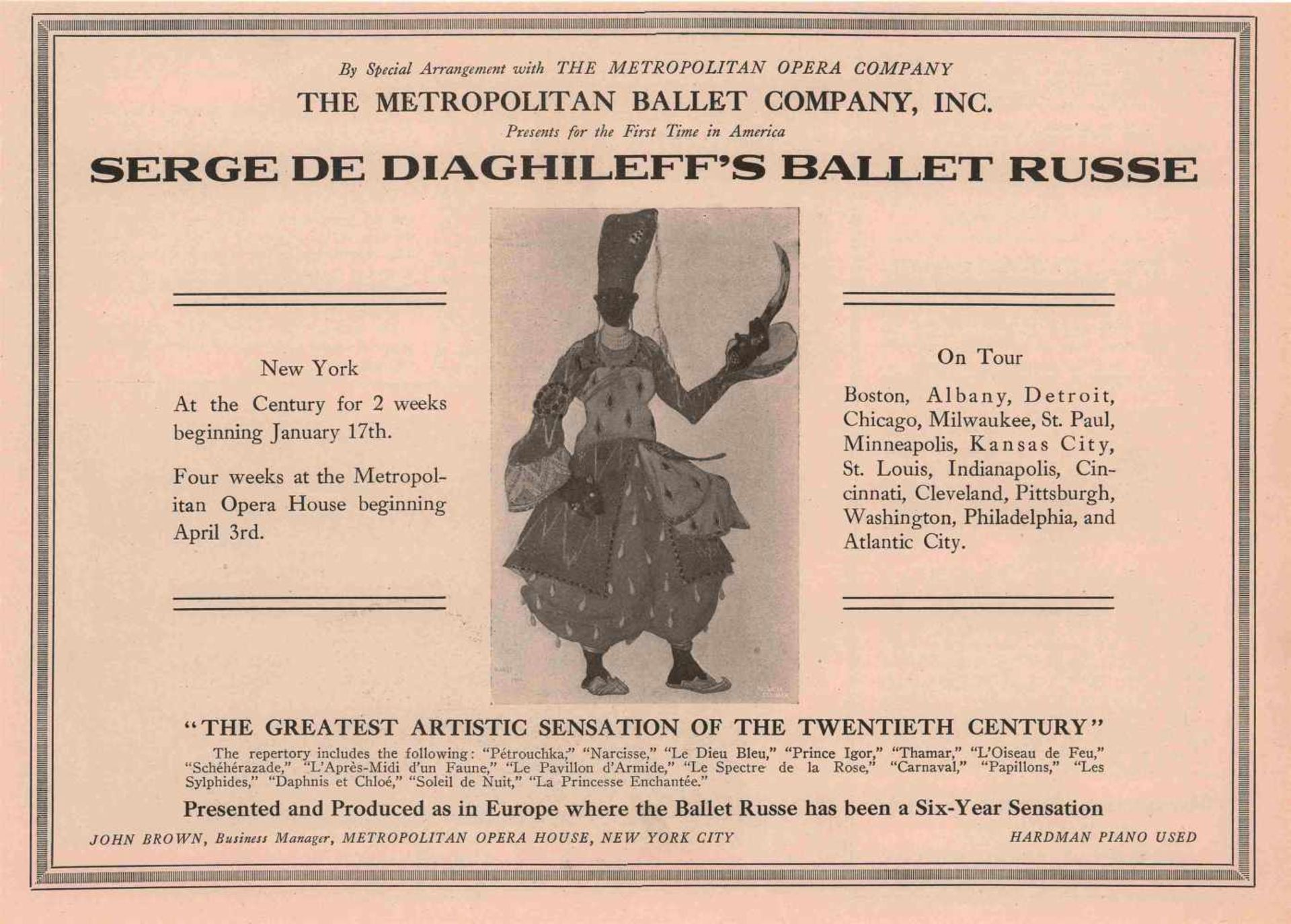 [BALLETS RUSSES, DIAGHILEW] Lot aus 1 Flyer und 2 Programmheften der Auftritte der Truppe der - Bild 3 aus 3