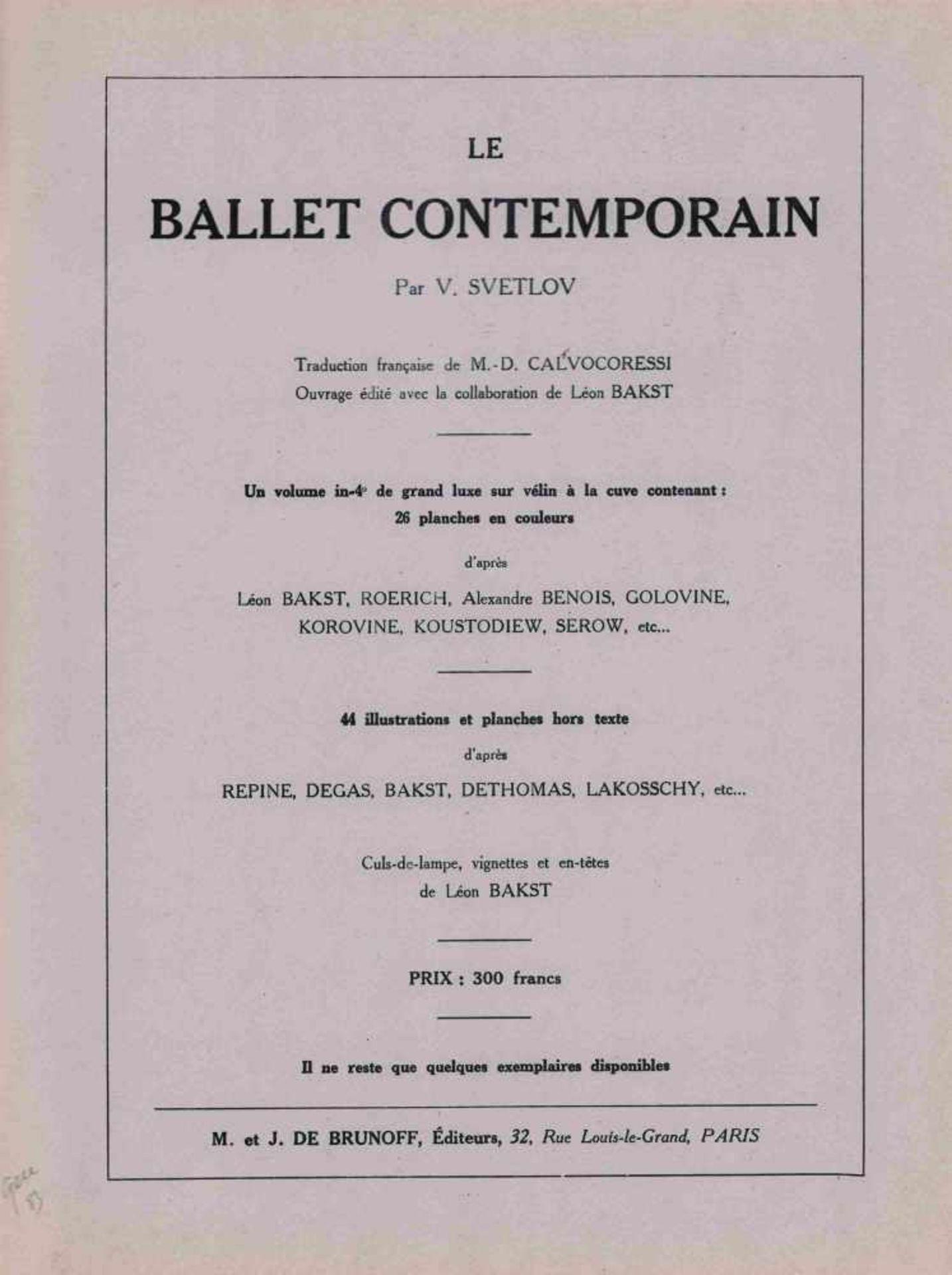 [BALLETS RUSSES, BRAQUE, PICASSO, PRUNA, UTRILLO] Ballets Russes im Théâtre de Monte-Carlo, 1926. M. - Bild 2 aus 2