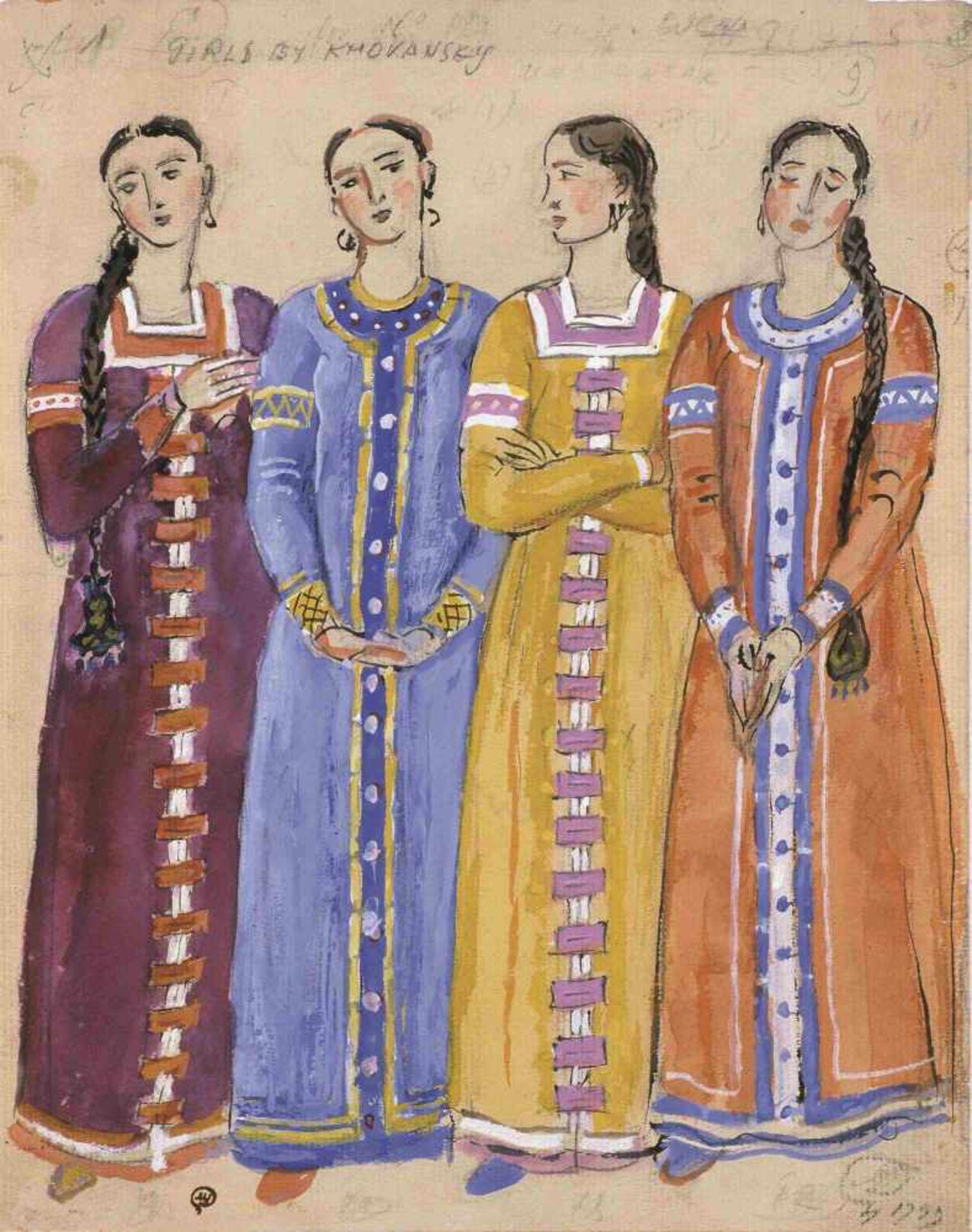 Mstislav Dobuzhinski (1875-1957) Entwurf für vier Frauenkostüme-Oper Chowanschtschina,