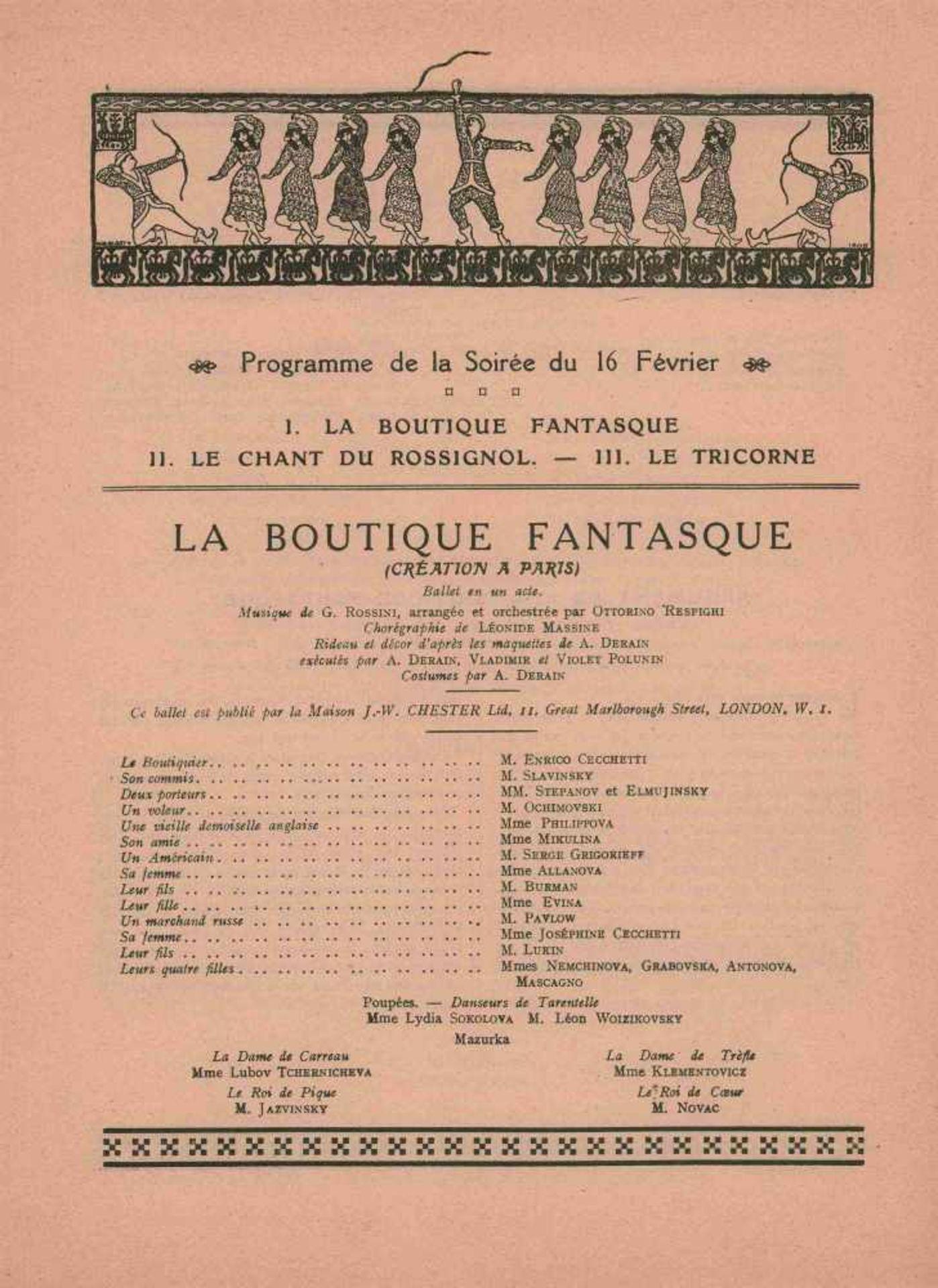 [BALLETS RUSSES, BAKST, DERAIN, MARTY, PICASSO] Ballets Russes in l'Opéra de Paris, 11. Saison, - Bild 2 aus 2