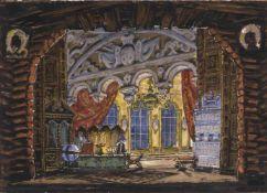 Mstislav Dobuzhinski (1875-1957) Bühnenbildentwurf für die Szene Kabinett des Prinzen Golitsin-