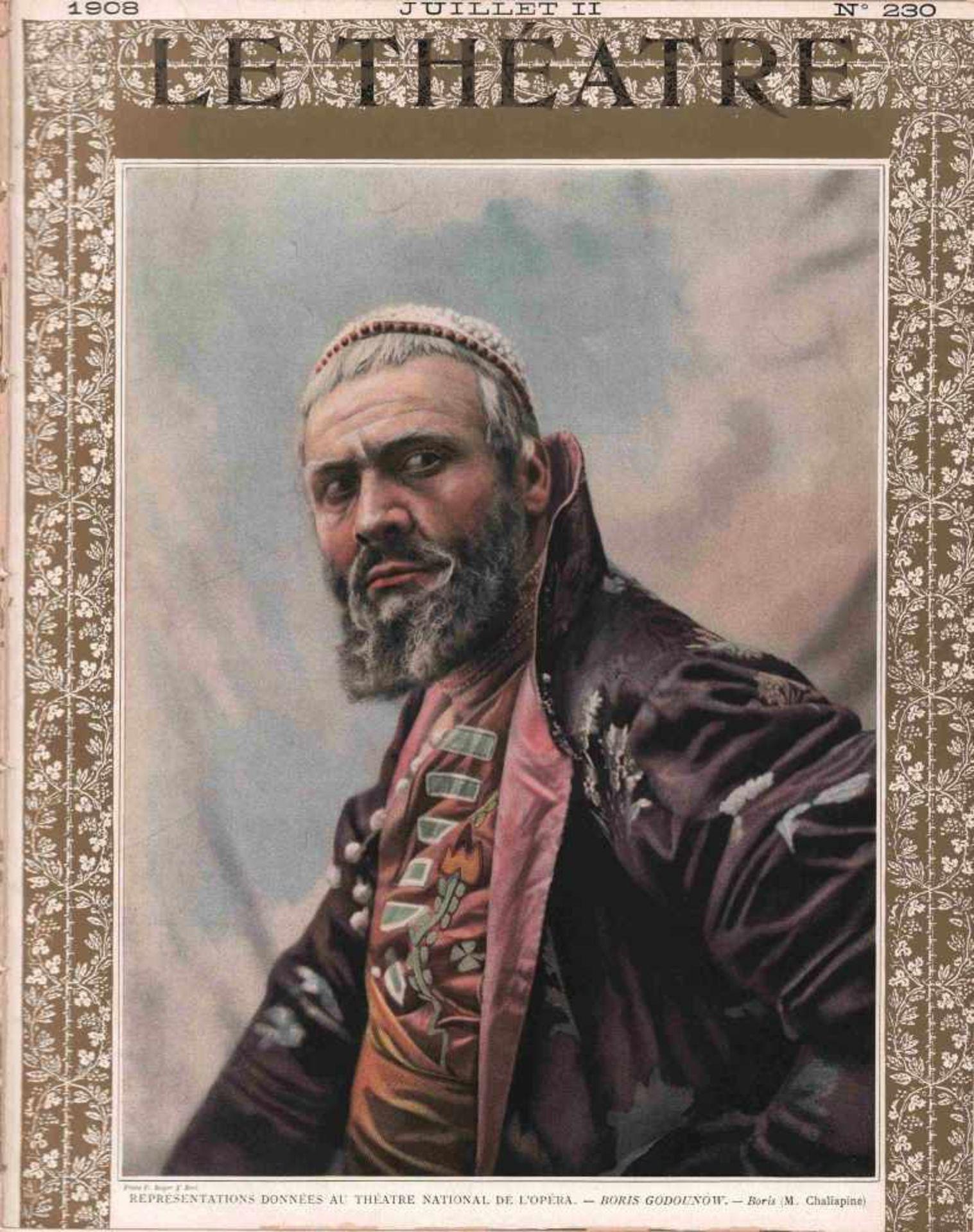[OPERA RUSSES, CHALIAPINE] Zeitschrift Le Théatre Nr. 230, Juli 1908. 34 х 27 cm. Auf dem Umschlag