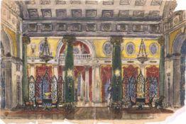Mstislav Dobuzhinski (1875-1957) Bühnenbildentwurf für die Szene Ball bei Gremin-Oper Eugen Onegin