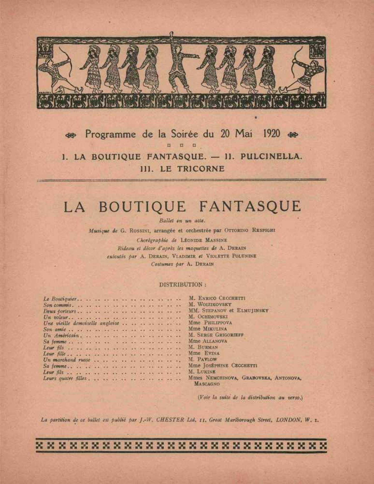[BALLETS RUSSES, MATISSE, SERT, PICASSO, DIAGHILEW] Ballets Russes des Sergei Djagilew, 12. - Bild 2 aus 2