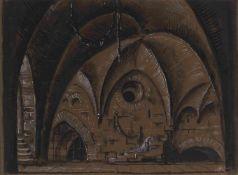 Mstislav Dobuzhinski (1875-1957) Bühnenbildentwurf für die Szene Gretchen im Kerker - Oper Faust,