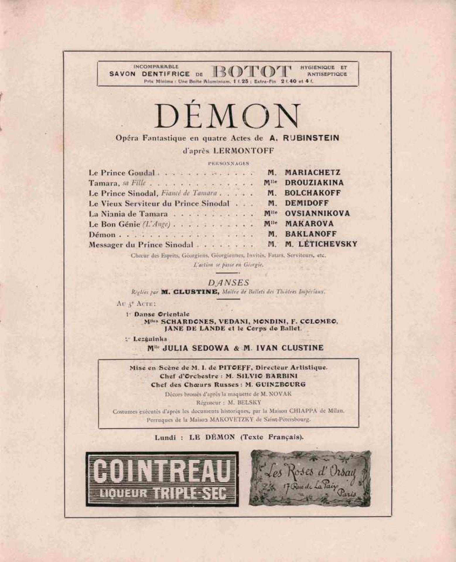 [BALLETS RUSSES, OPERA RUSSE, PORTALEZ] Große Russische Saison, Théâtre Sarah Bernardt, Paris, - Bild 2 aus 2