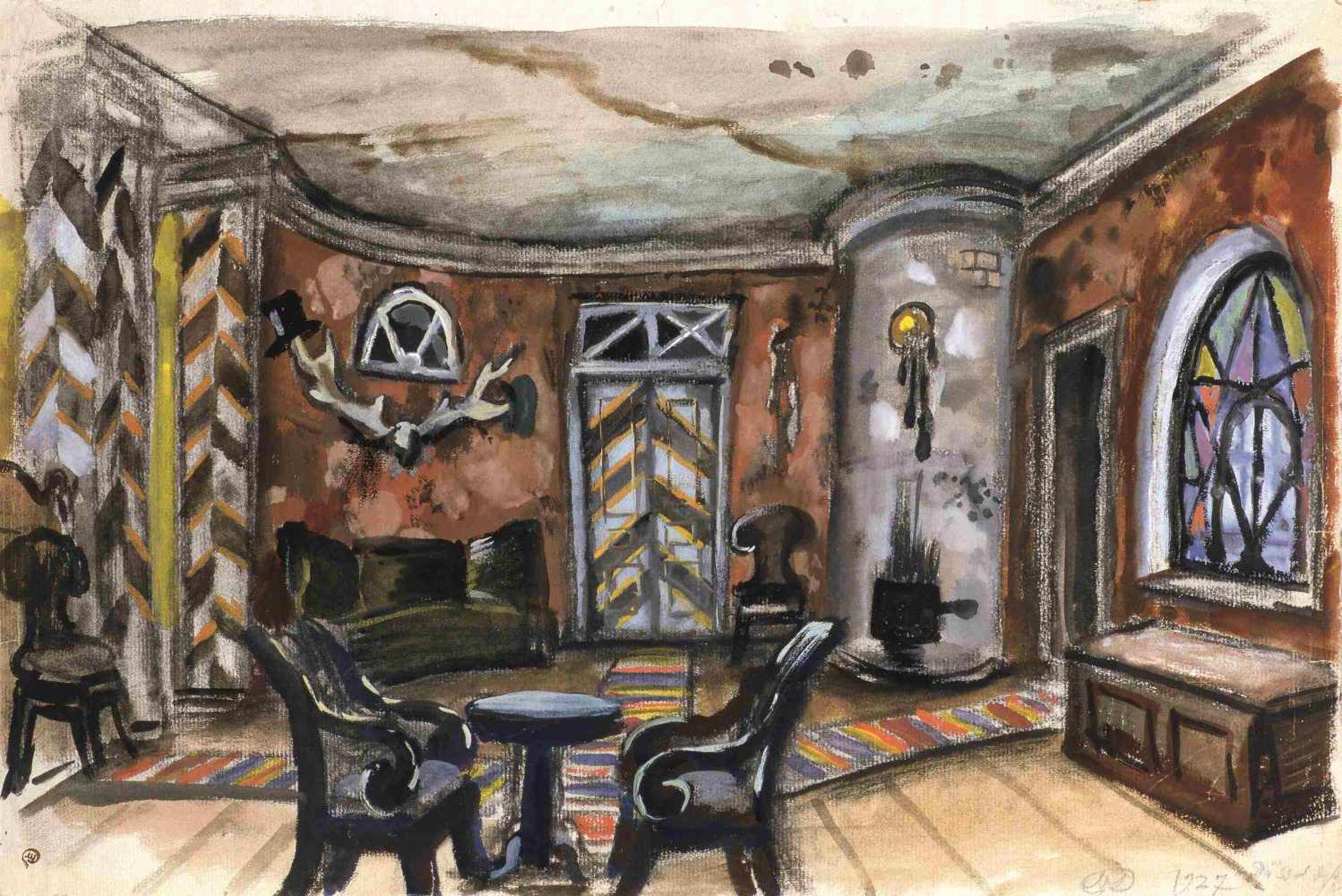 Mstislav Dobuzhinski (1875-1957) Bühnenbildentwurf für den IV. Akt-Der Revisor, inszeniert von dem