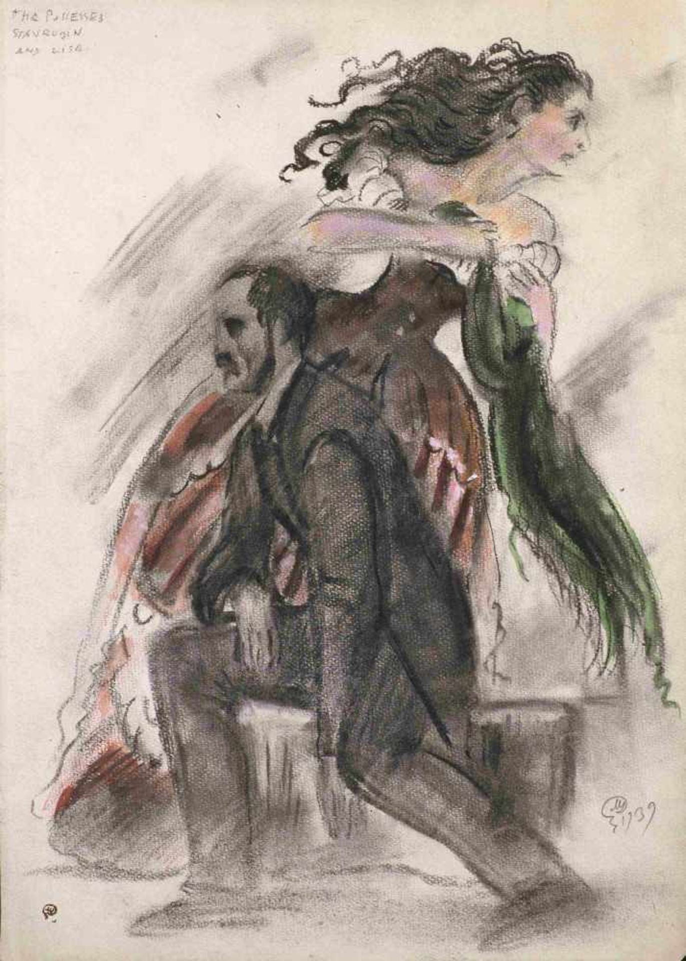 Mstislav Dobuzhinski (1875-1957) Kostümentwurf-Stavrogin und Lisa im Theaterstück Besessene (nach