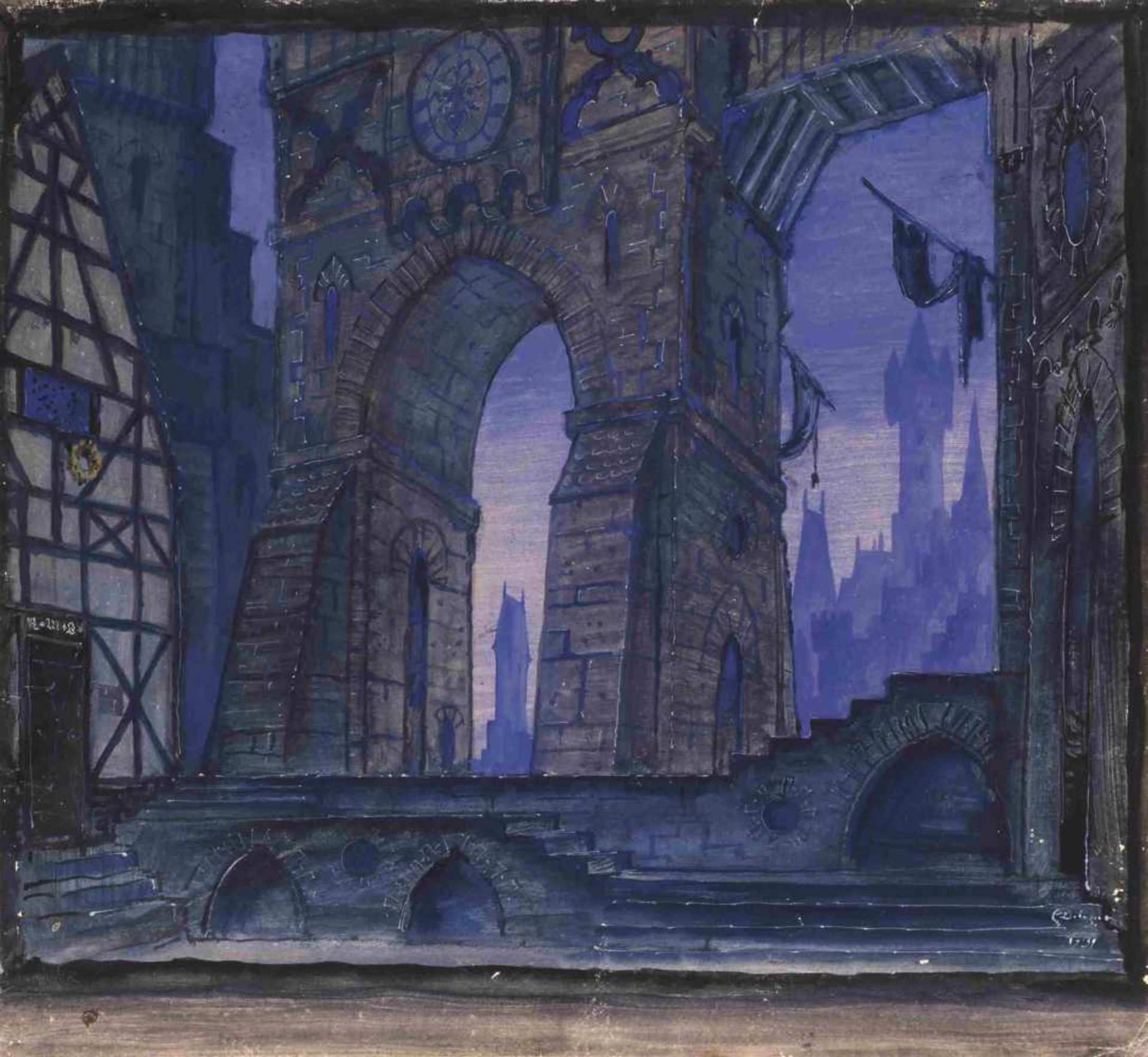 Mstislav Dobuzhinski (1875-1957) Bühnenbildentwurf für die Szene Stadttor - Oper Faust, Inszenierung