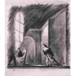 Mstislav Dobuzhinski (1875-1957) Bühnenbildentwurf-Skworechniki (Stavrogin und Lisa), Theaterstück