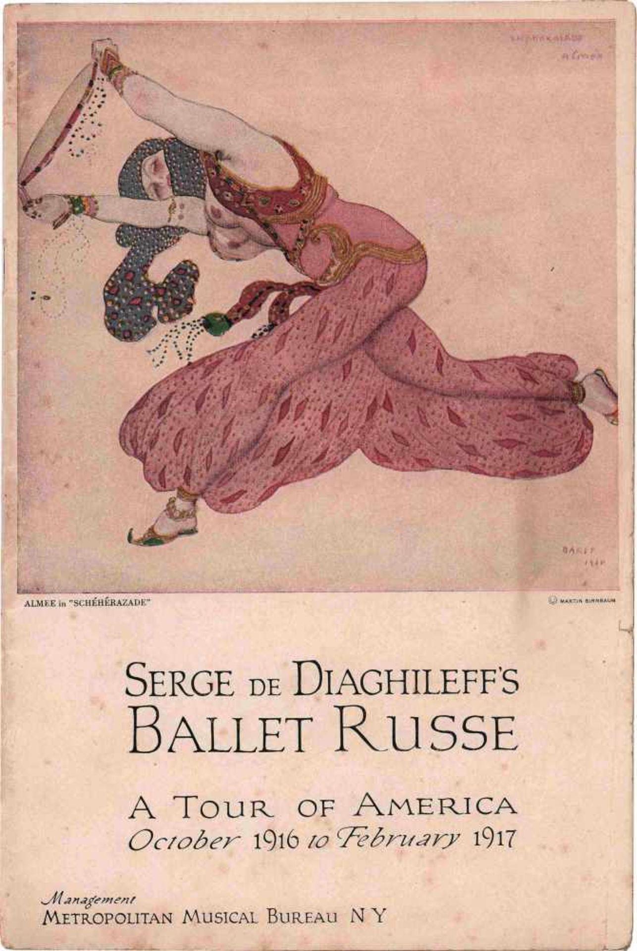[BALLETS RUSSES, DIAGHILEW] Lot aus 1 Flyer und 2 Programmheften der Auftritte der Truppe der