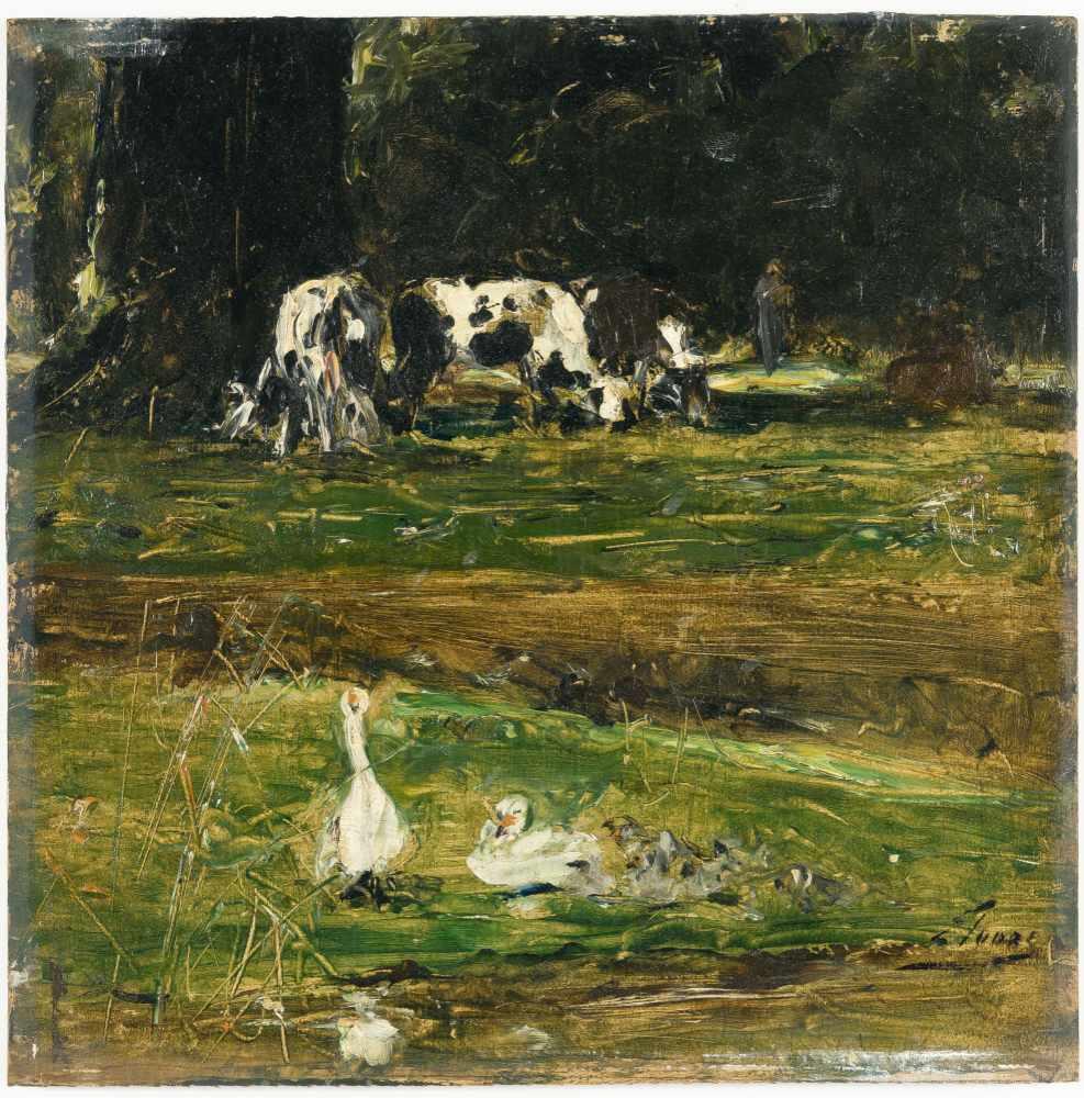 Lot 44 - Eugène Joors1850 Borgerhout/Antwerpen - Berchem/Antwerpen 1910Landschaft mit Kühen und EntenÖl auf