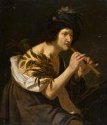 Lot 27 - Jan van Bijlert (Umkreis)um 1598 - Utrecht - 1671Flöte spielender HirteÖl auf Leinwand, doubliert.
