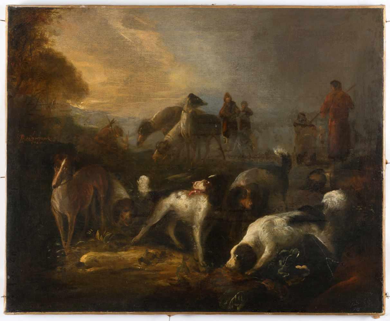 Lot 14 - Adriaen Cornelisz. Beeldemaker1618 Rotterdam - Den Haag 1709Jagdhunde und Jäger in einer