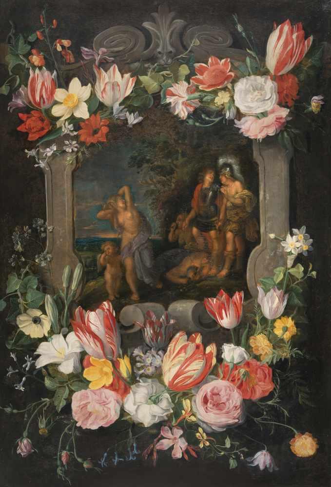 Lot 8 - Jan Brueghel d. J. (zugeschrieben) 1601 - Antwerpen 1678 Blumengirlanden um eine Kartusche mit