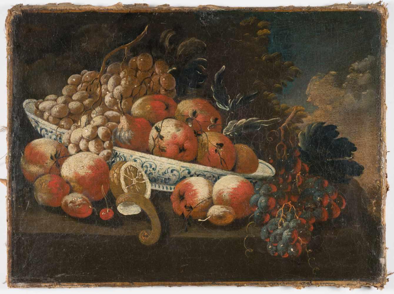 Lot 28 - DeutschStillleben mit Pfirsichen, Trauben, Kirschen und einer ZitroneÖl auf Leinwand, doubliert. (