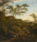 Lot 15 - Isaak de Moucheron1667 - Amsterdam - 1744Überfall in bewaldeter hügeliger LandschaftÖl auf Leinwand,