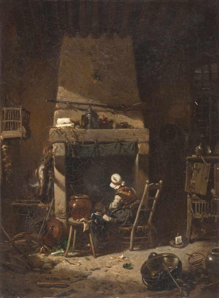 Lot 60 - Charles Hoguet1821 - Berlin - 1870In der KücheÖl auf Leinwand. 1852. 34,8 x 25,9 cm. Signiert und
