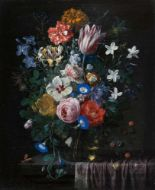 Lot 7 - Nicolaes van Veerendael1640 - Antwerpen - 1691Blumenstrauß mit Rosen, Tulpe, Hibiskus und