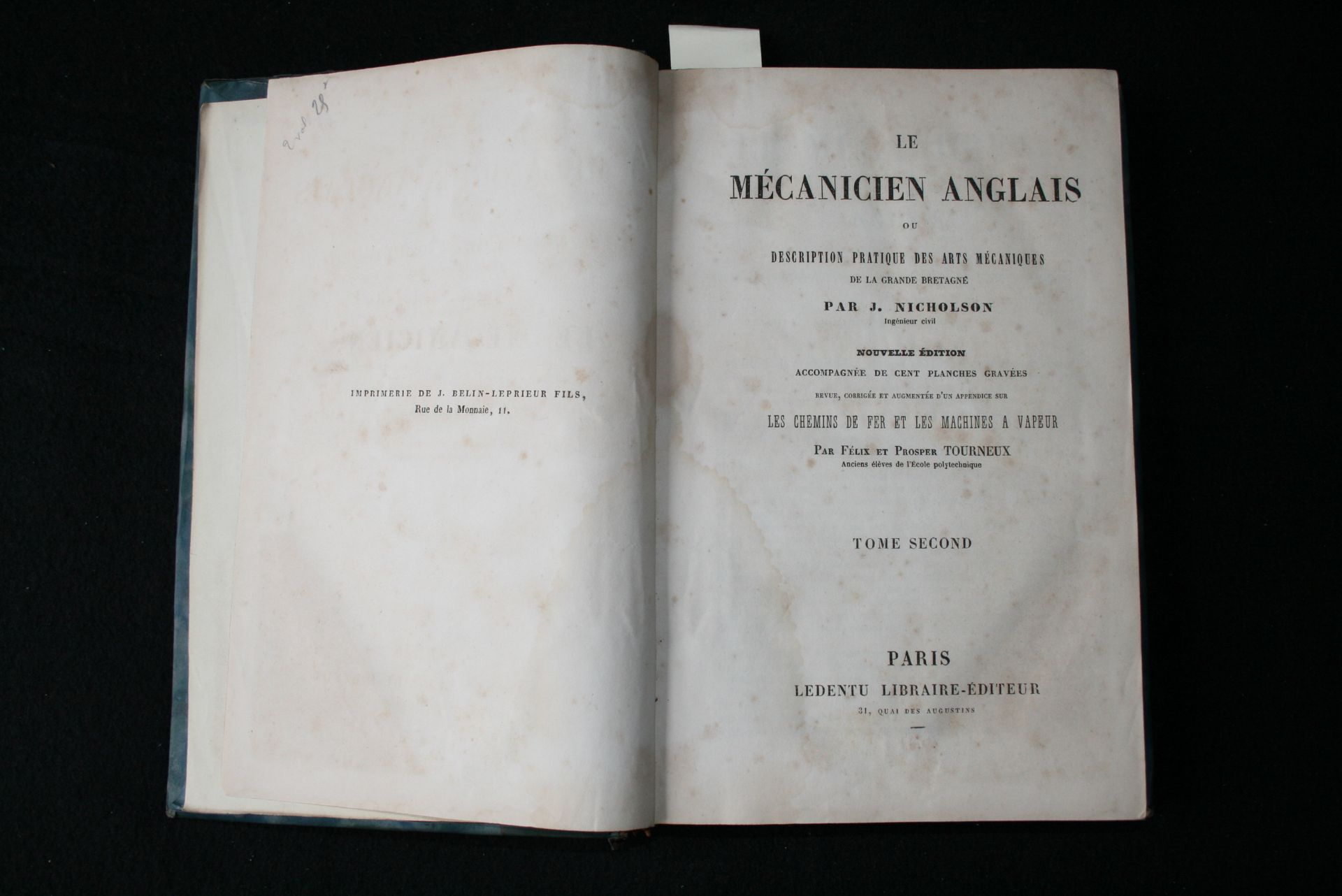 NICHOLSON J. - Le mécanicien anglais ou description pratique des arts mécaniques de [...]