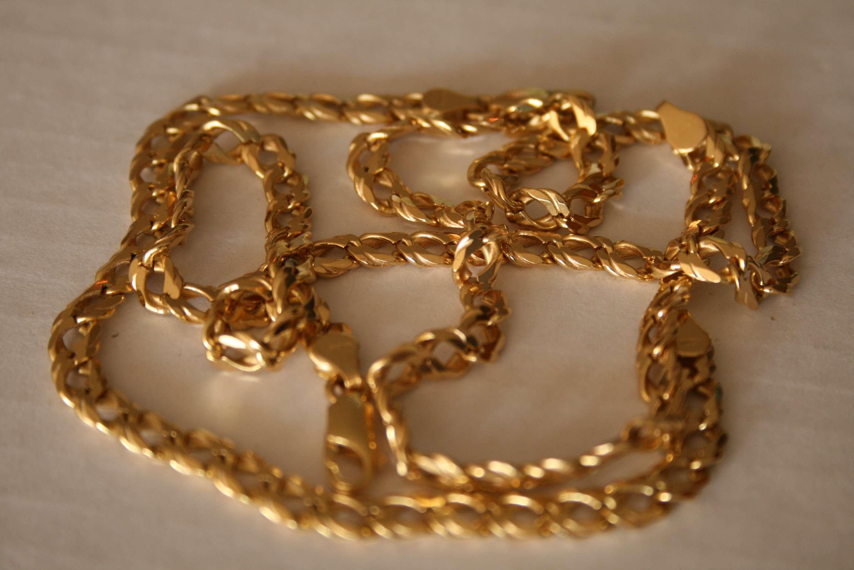 Lot 14 - Bracelet et collier en or 750/18ct à grosse maille - Poids : 55,3 g - Bracelet and [...]