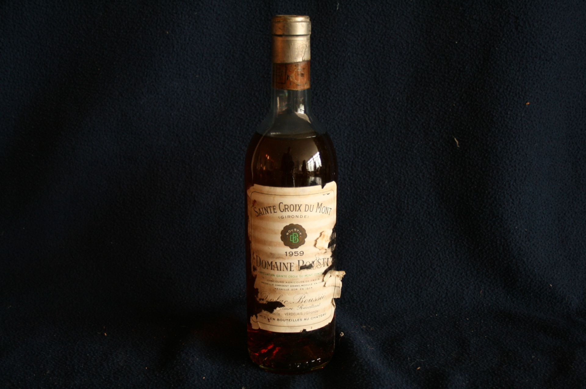 """Los 58 - Domaine ROUSTIT de l'appellation """"Sainte Croix du Mont"""", millésime 1959, étiquette [...]"""