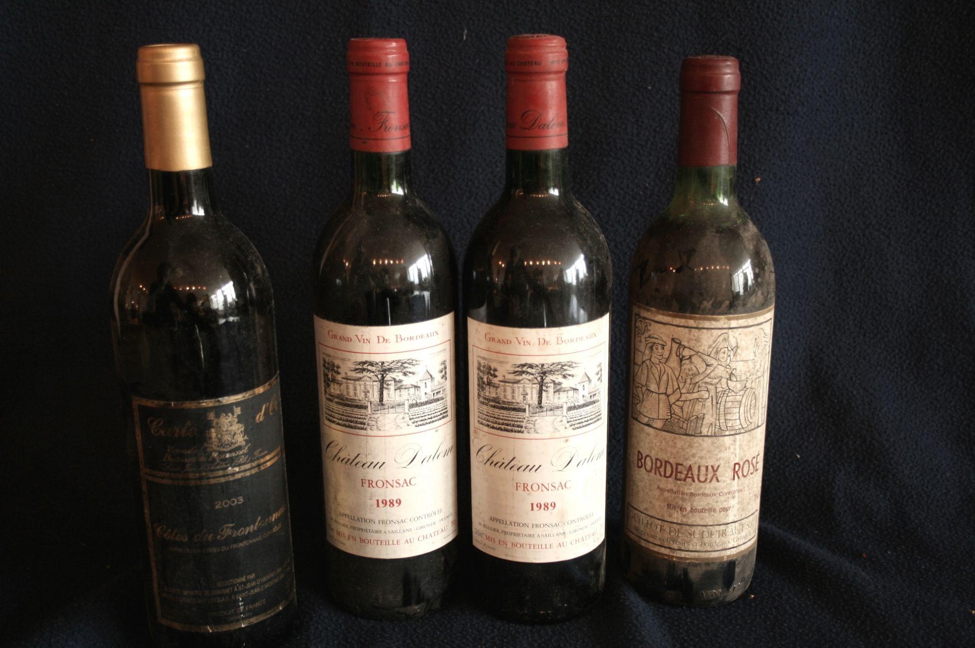 Los 44 - 2 bouteilles FRONSAC rouge, Château Dalem, 1989 + Bordeaux Rosé non millésimé [...]
