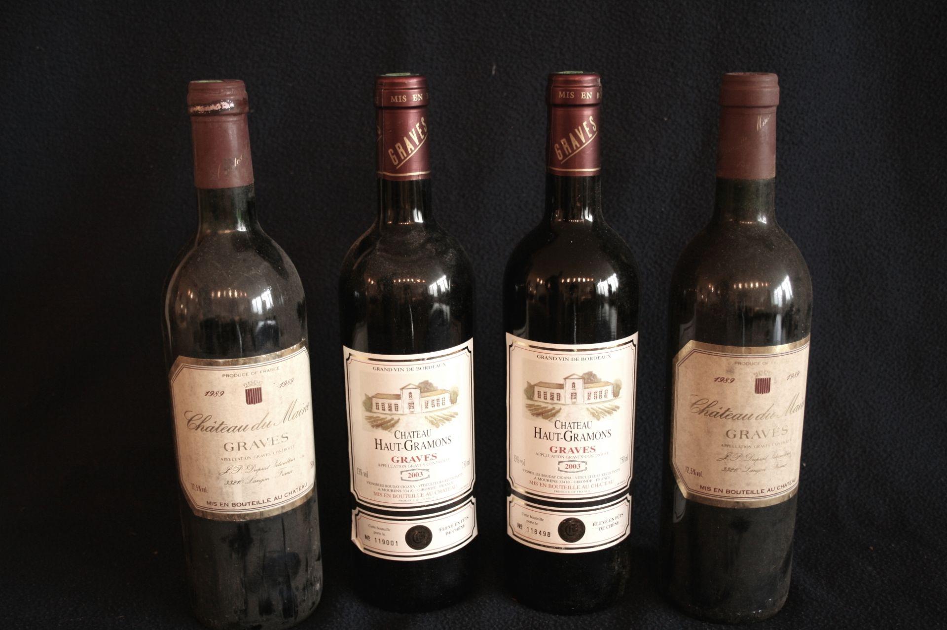 Los 46 - 4 bouteilles de BORDEAUX GRAVES, rouge : 2 x château HAUT-GRAMONS, 2003 + 2 x [...]