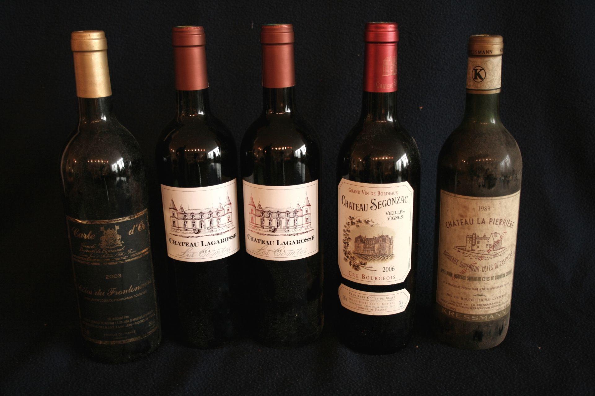 Los 41 - 2 bouteilles de 1ères Côtes de BORDEAUX, Château Lagarosse, 2004, rouge + Côtes [...]