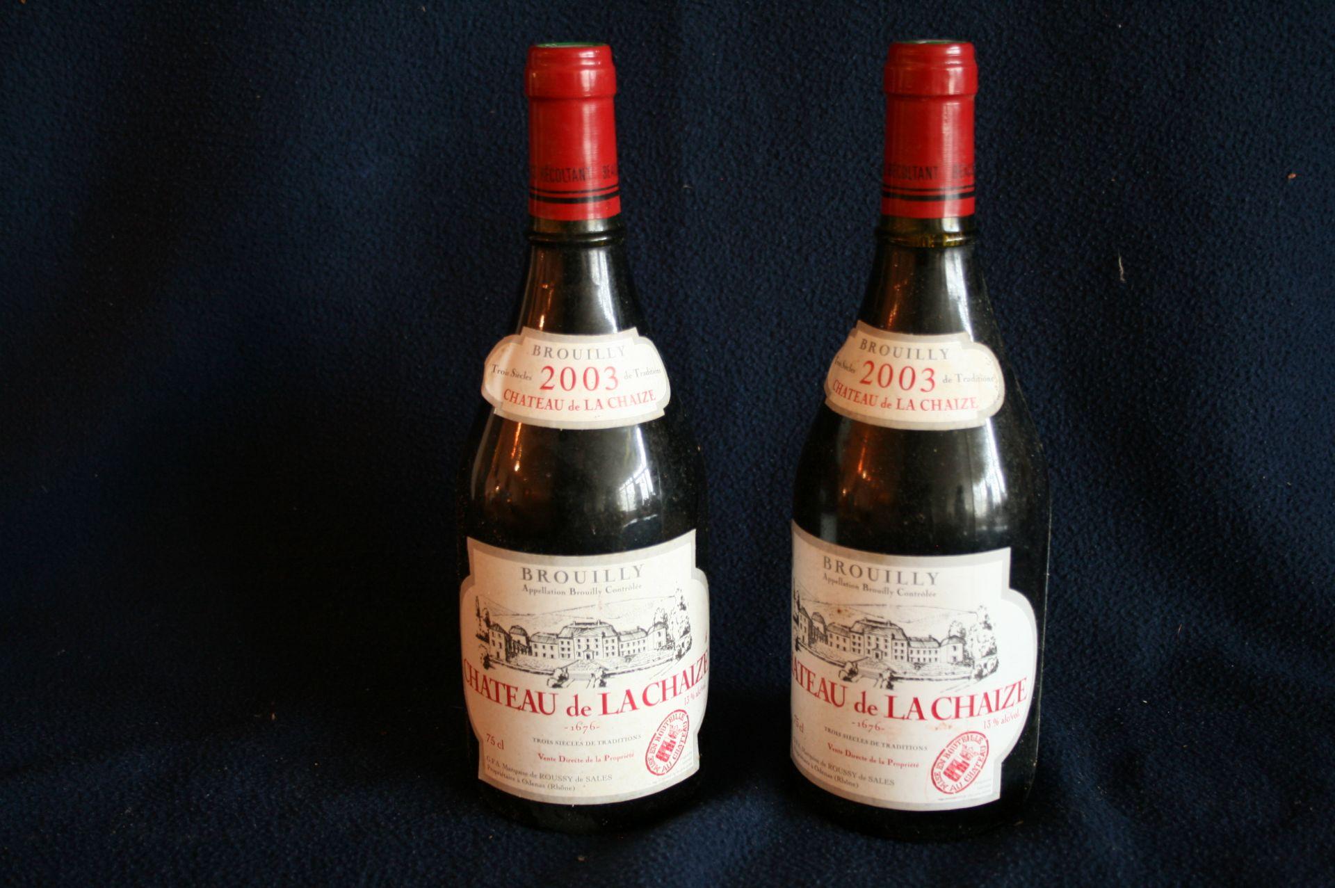 2 bouteilles de BEAUJOLAIS, BROUILLY, Château de LA CHAIZE, rouge, 2003 - 2 bottles [...]