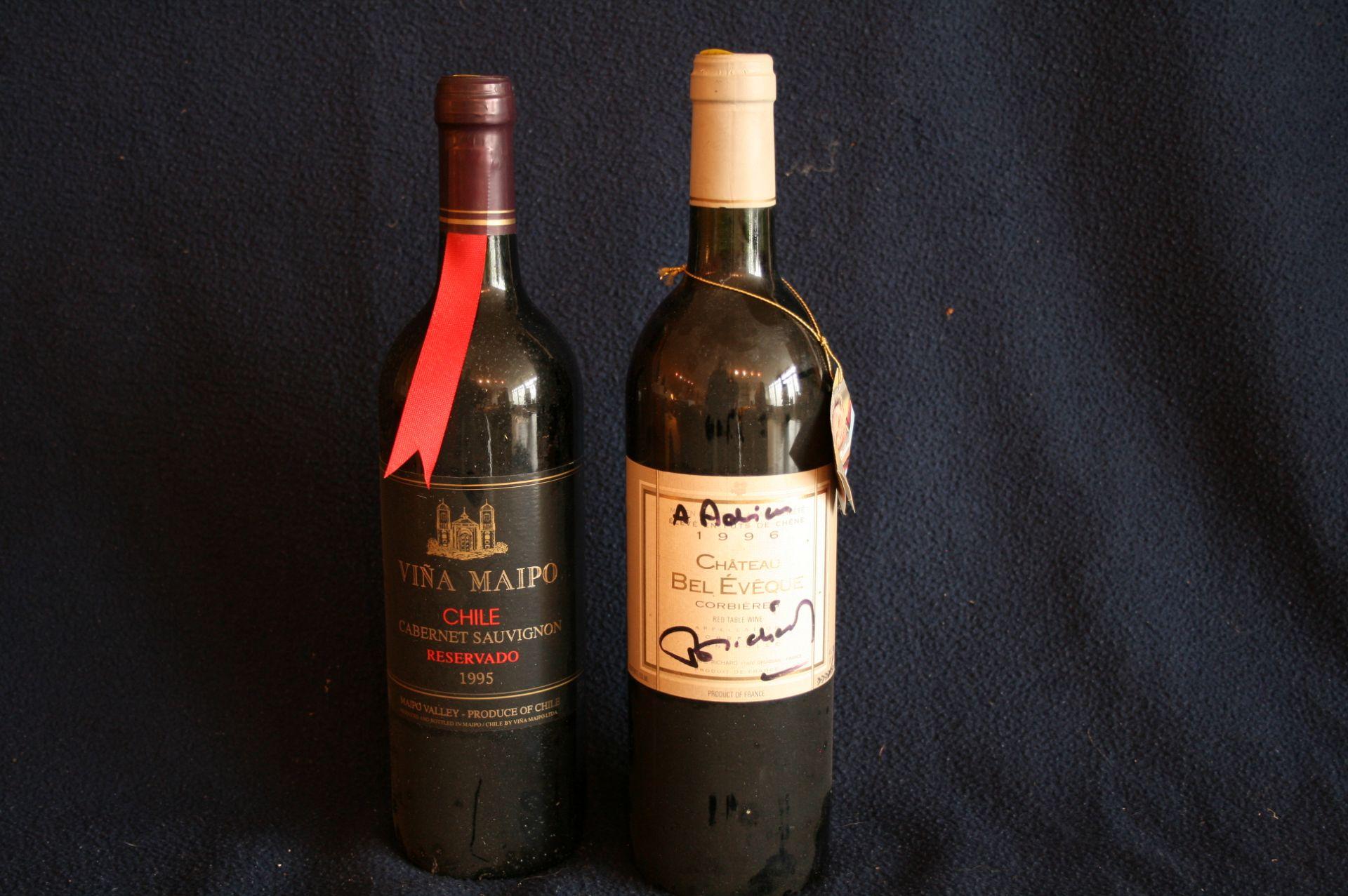 Los 32 - 1 bouteille de CORBIERES, Château BEL EVÊQUE, rouge, 1996 + Vina MAIPO, CHILE, [...]