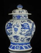 """A CHINESE BLUE AND WHITE """"DRAGON"""" JAR AND COVER, QING DYNASTY, GUANGXU PERIOD, LATE 19TH CENTURY,"""
