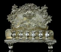 A POLISH / IMPERIAL RUSSIAN SILVER HANNUKAH LAMP, M.SZTERN, WARSAW, 1880, JUDAICA.Made of .875