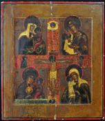 """RUSSIAN ORTHODOX FOUR PART ICON WITH CRUCIFIXATION, """"FOUR VIRGINS"""".Origin: Russia, 19th century."""