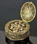 GOOD QUALITY SILVER FILIGREE BOX WITH A ROSARY, 800 STANDARD, 18TH CENTURY, WESTERN EUROPEOrigin: