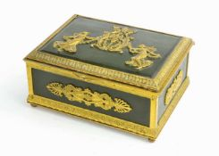AN EMPIRE STYLE GILT AND PATINATED BRONZE JEWELRY BOX, LATE 19TH CENTURY.Origin: France.