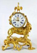 PENDULE AU LION RUGISSANT. ROARING LION GILT BRONZE ROCOCO CLOCK BY N.CH. DU TERTRE. FRANCE, LATE